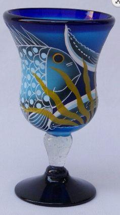 Fish Polka Stem Glass