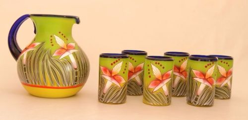Flower Jug and 6 Glasses Set
