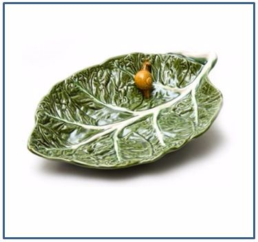 Cabbage Shallow Leaf Bowl with Snail