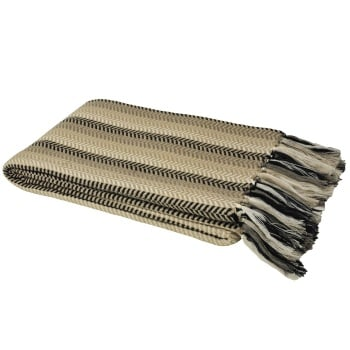 Venetian Throw Blanket - Black and Taupe