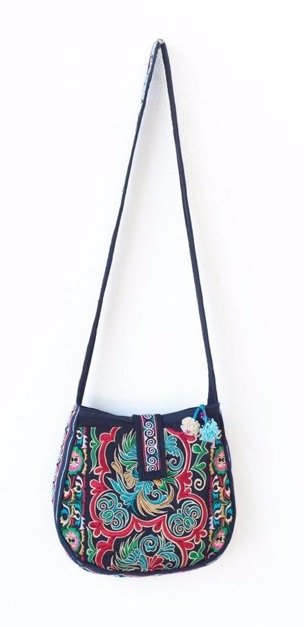 Dark Bird Hmong Embroidered Bag