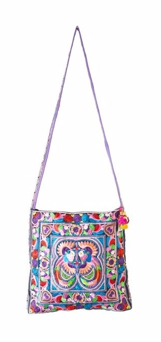 Square Cross Body Hmong Embroidered Bag