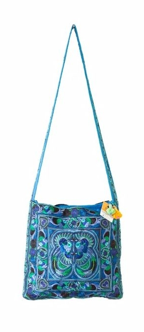 Square Cross Body Hmong Embroidered Bag - Blue