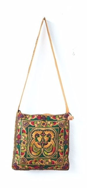 Square Cross Body Hmong Embroidered Bag - Mocha