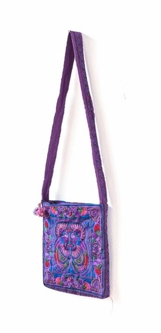 Square Cross Body Hmong Embroidered Bag - Purple