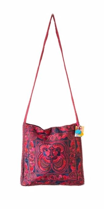Square Cross Body Hmong Embroidered Bag - Red