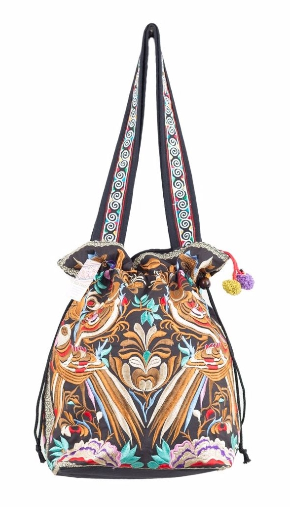 Black and Gold Hmong Embroidered Tote Bag