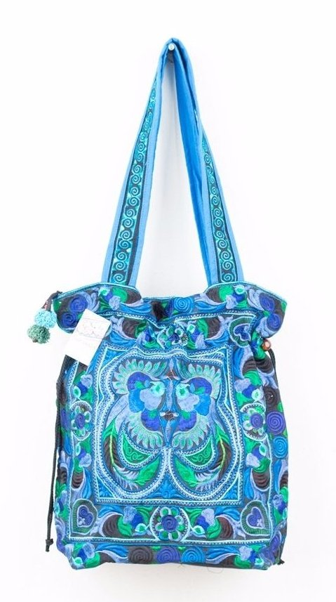 Embroidered Hmong Tote Bag - Blue