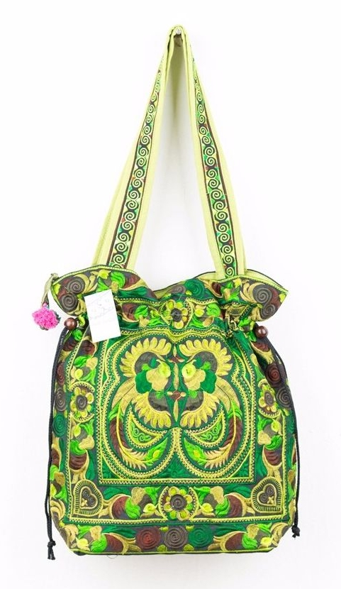Embroidered Hmong Tote Bag - Green