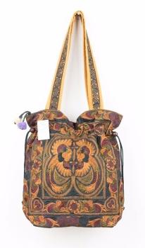 Embroidered Hmong Tote Bag - Mocha