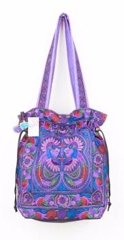 Embroidered Hmong Tote Bag - Purple