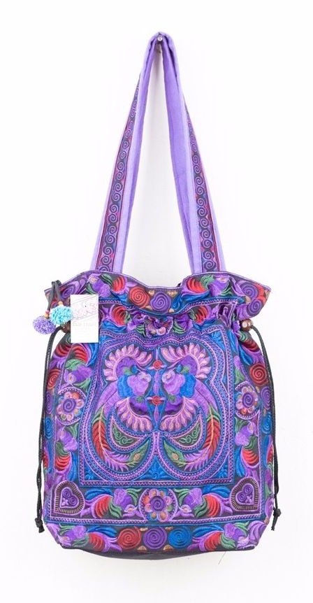 Embroidered Hmong Tote Bag - Purple