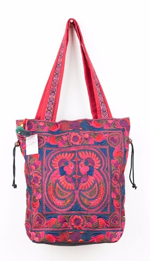Embroidered Hmong Tote Bag - Red