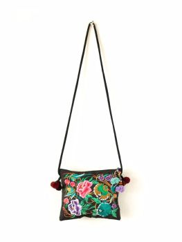 Embroidered Hmong Tote Bag - Black Garden