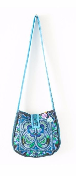 Rounded Cross Body Hmong Embroidered Bag - Blue