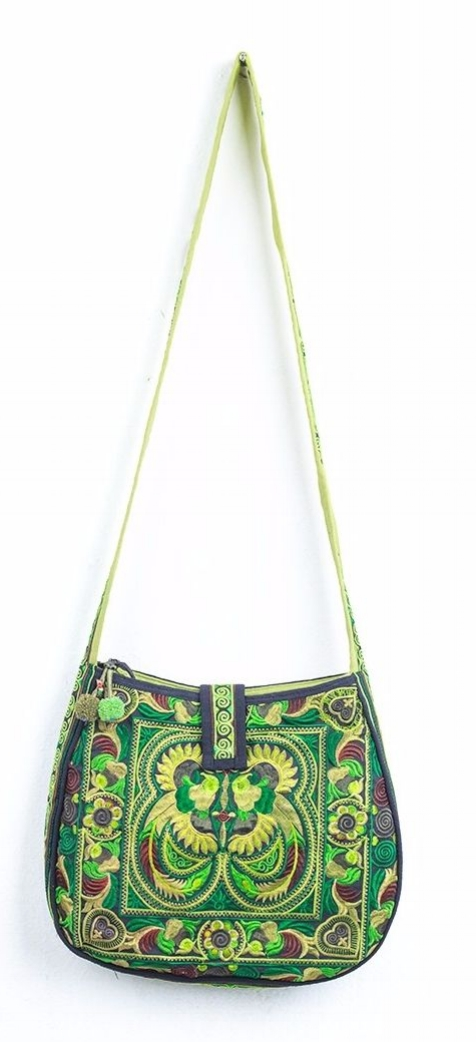Rounded Cross Body Hmong Embroidered Bag - Green
