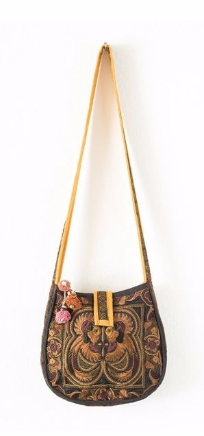 Rounded Cross Body Hmong Embroidered Bag - Mocha
