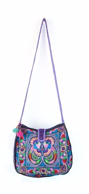 Rounded Cross Body Hmong Embroidered Bag - Multi