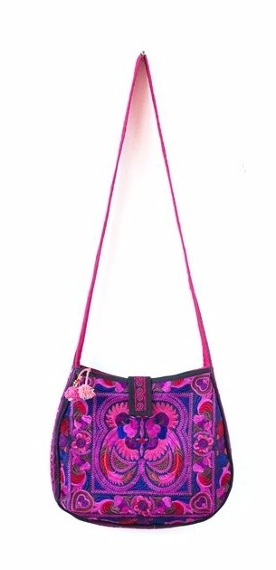 Rounded Cross Body Hmong Embroidered Bag - Pink