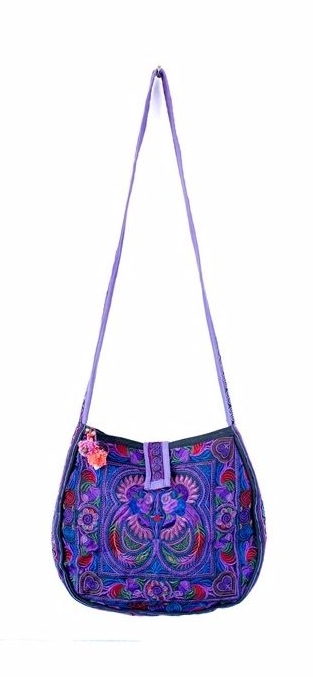 Rounded Cross Body Hmong Embroidered Bag - Purple
