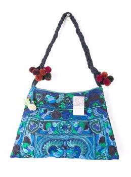 Hmong Embroidered Shoulder Bag - Blue