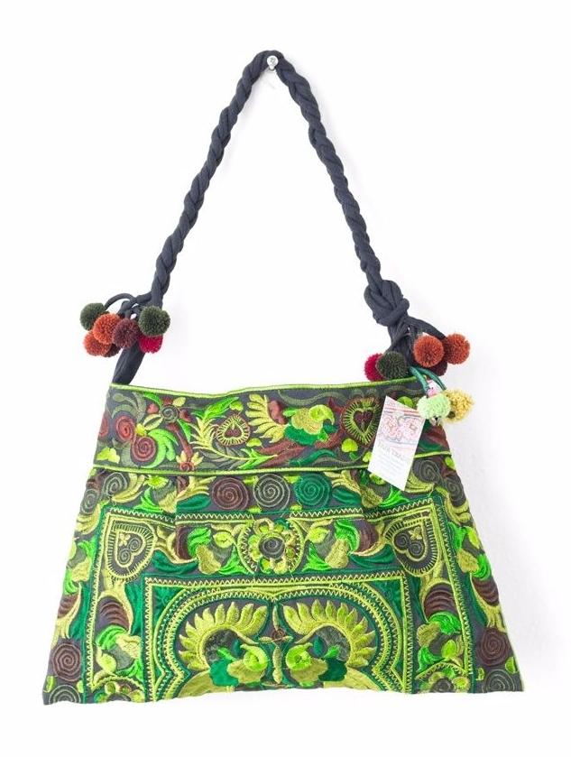 Hmong Embroidered Shoulder Bag - Green
