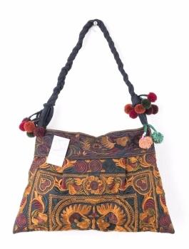 Hmong Embroidered Shoulder Bag - Mocha