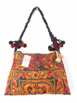 Hmong Embroidered Shoulder Bag - Orange