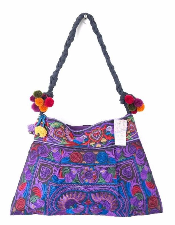 Hmong Embroidered Shoulder Bag - Purple