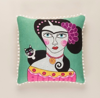 Embroidered Cushion - Frida Kahlo and Black Cat