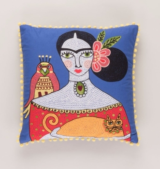 Embroidered Cushion - Frida Kahlo and Orange Cat