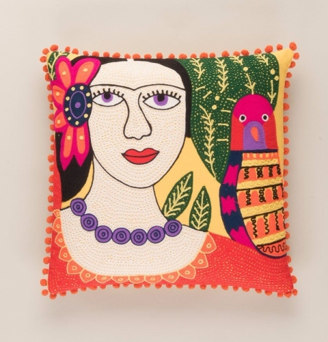 Embroidered Cushion - Frida Kahlo and Pink Bird