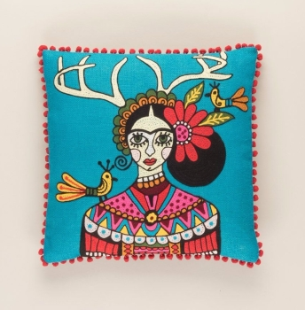 Embroidered Cushion - Frida Kahlo with Stag Horns