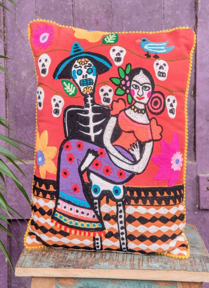 Embroidered Cushion - Frida Kahlo and Day of the Dead Skeleton