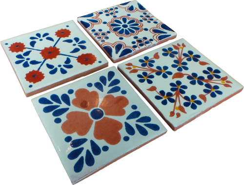 Coaster Set of 4 - Terracotta and Blue