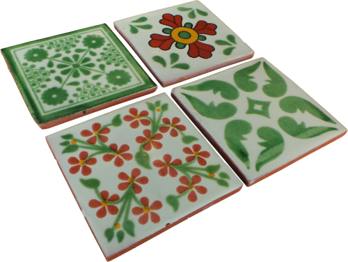 Coaster Set of 4 - Terracotta and Green