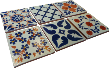 Coaster Set of 6 - Blue and Terracotta