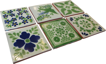 Coaster Set of 6 - Green and Blue