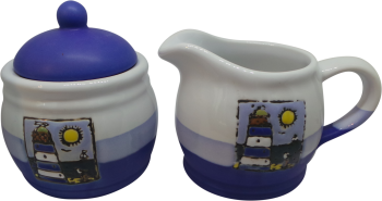 Sugar Pot and Milk Jug Set - Blue Lighthouse