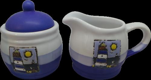 Sugar Pot and Milk Jug Set - Blue Lighthouse