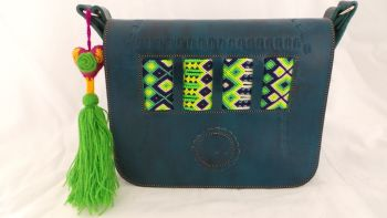 Mexican Woven Bag - Teal (7)