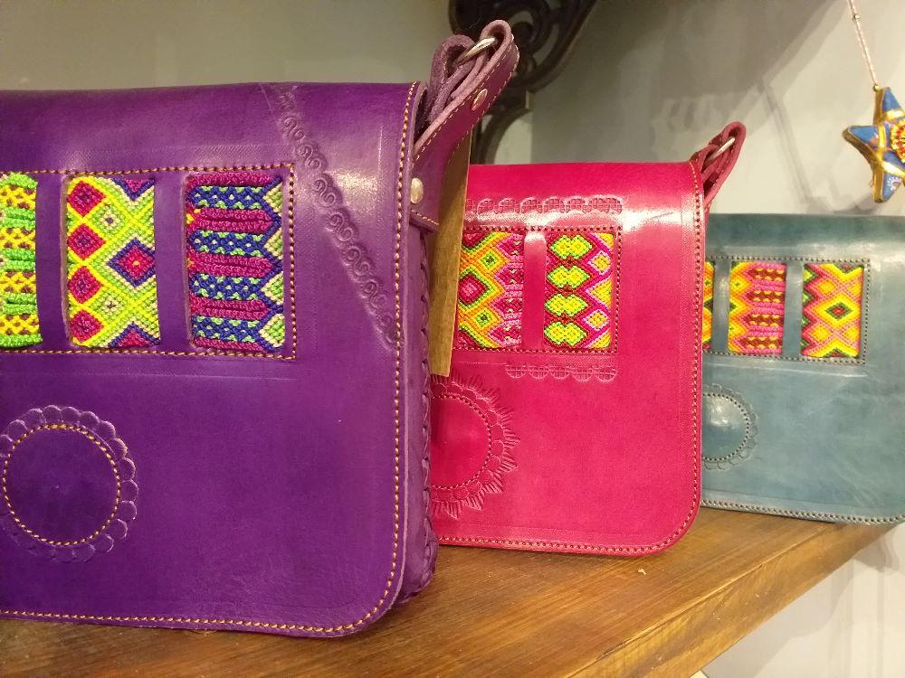 Woven-panel Handbags
