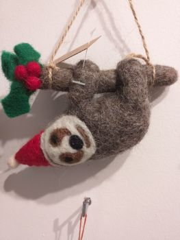 Felt Sloth with Santa Hat
