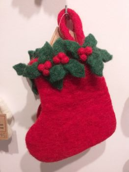 Felt Small Holly Stocking