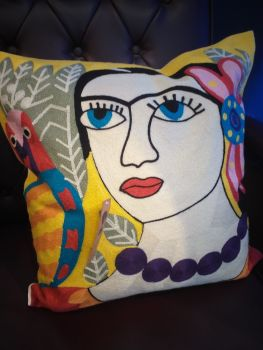 Embroidered Square Cushion - Yellow Frida