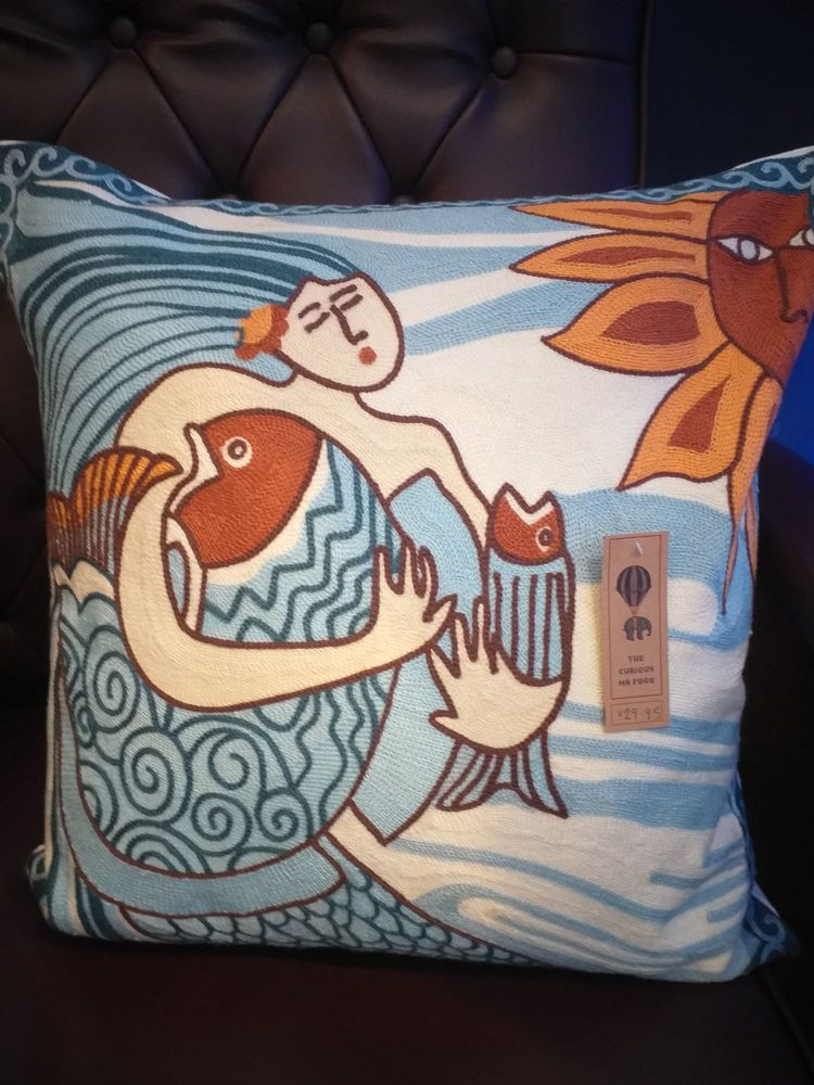 Embroidered Square Cushion - Mermaid Fish