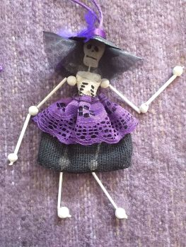 Mini Skeleton - La Catrina - Black and Purple