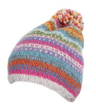Candy Stripe Bobble Beanie Hat