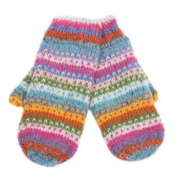 Candy Stripe Fleece Lined Mittens
