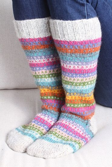 Candy Stripe Knitted Long Socks